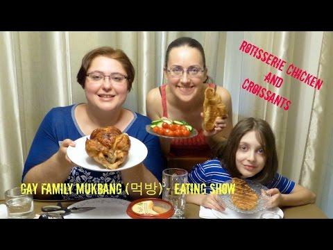 Rotisserie Chicken Croissants Gay Family Mukbang (먹방) - Eating Show