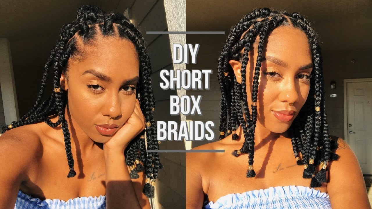 How To Short Box Braids Rubber Band Method 90s Inspo