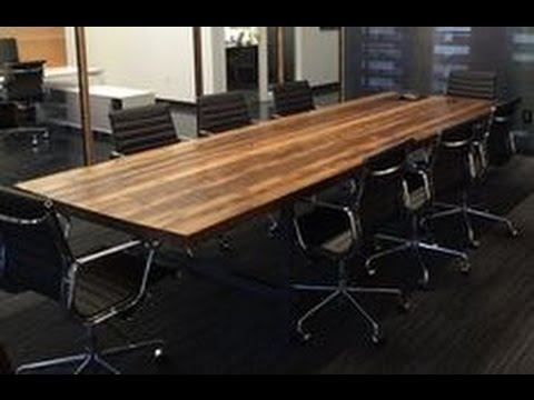 Wood Iron Conference Room Table Youtube