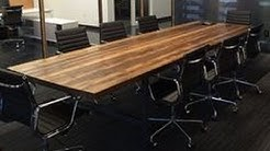 Wood Iron Conference Room Table