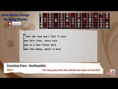 Counting Stars - OneRepublic Guitar Backing Track with scale, chords and lyrics