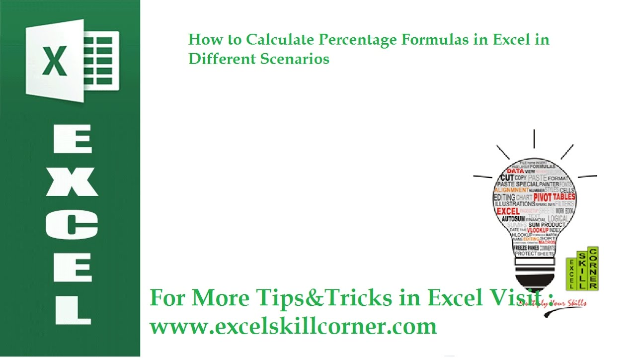 How To Calculate Percentage Formulas In Excel