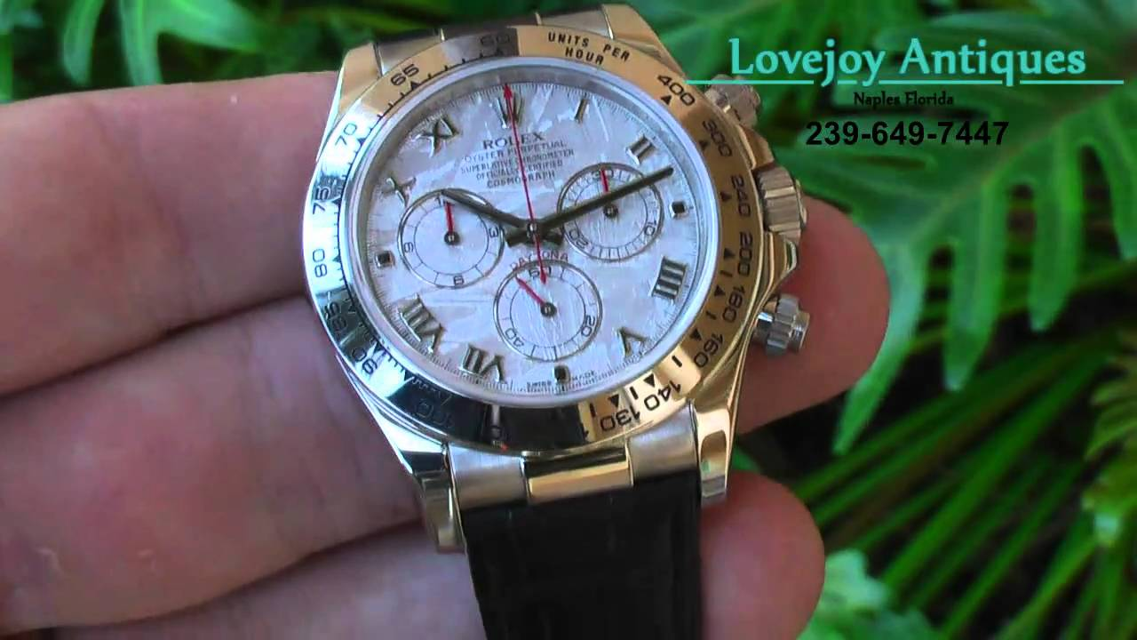 Rolex Mens Daytona 18k White Gold Watch Meteorite Dial