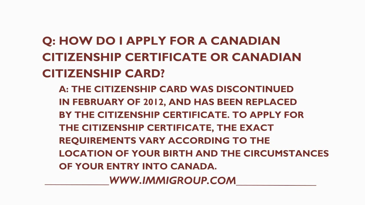 How to apply for a canadian citizenship card or certificate youtube how to apply for a canadian citizenship card or certificate aiddatafo Image collections