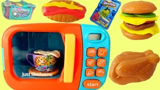 MICROWAVE PLAY SET with SHOPKINS | Cook Hamburgers Chicken Hot Chocolate | Just Like Home