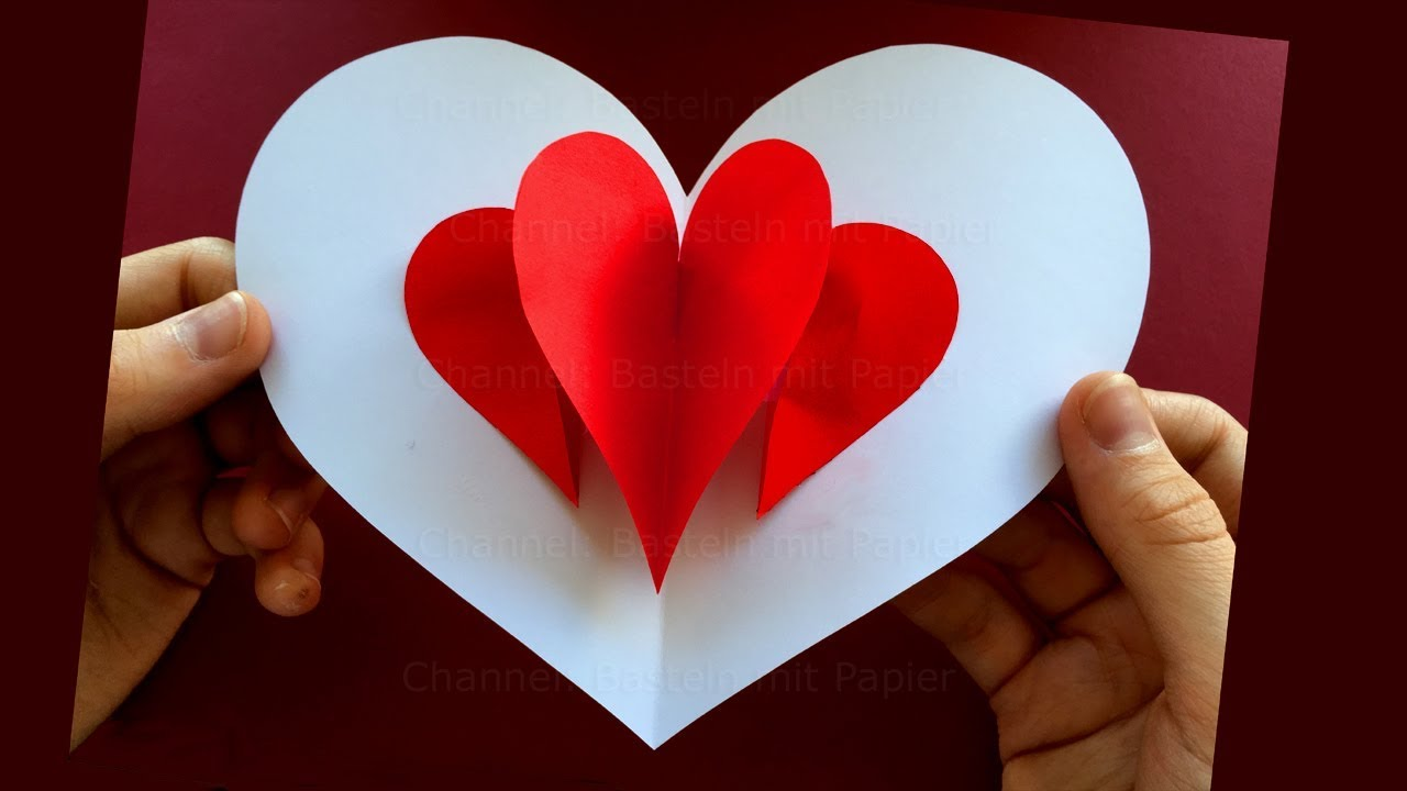 how to make a pop up card with a heart