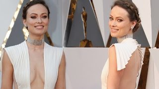Olivia Wilde Stunt In Braless Dress Flashes Ample Cleavage At Oscars 2016 Red Carpet !!