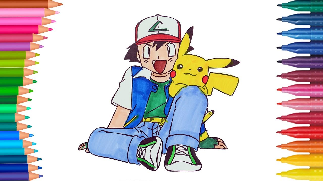 Dibujar Y Colorea Pokemon Pikachu Y Ash