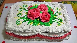 Бисквитный торт со сливочным кремом,бананом,вишней и безе Sponge cake with butter cream(Вот такой нежный торт с шоколадным бисквитом,вишней,бананом и безешками,украшен завитушками и розами из..., 2016-03-24T23:20:50.000Z)