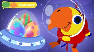 Learning First Words w Larry The Bird | Sensory Stimulation for Babies | First University