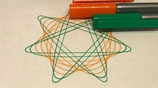 Green and Orange Star Design | Spirograph