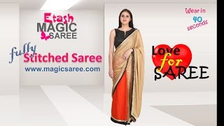 How to wear MAGIC SAREE - Luscious Orange & gold ETMSB15010