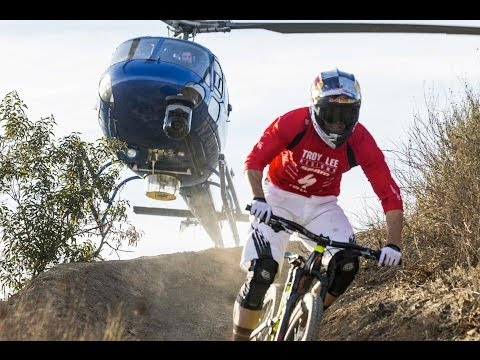 Helicopter chases Curtis Keene down incredible MTB trail - Heli POV
