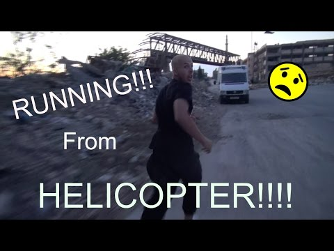 RUNNING FROM A HELICOPTER IN ALEPPO CITY!!!