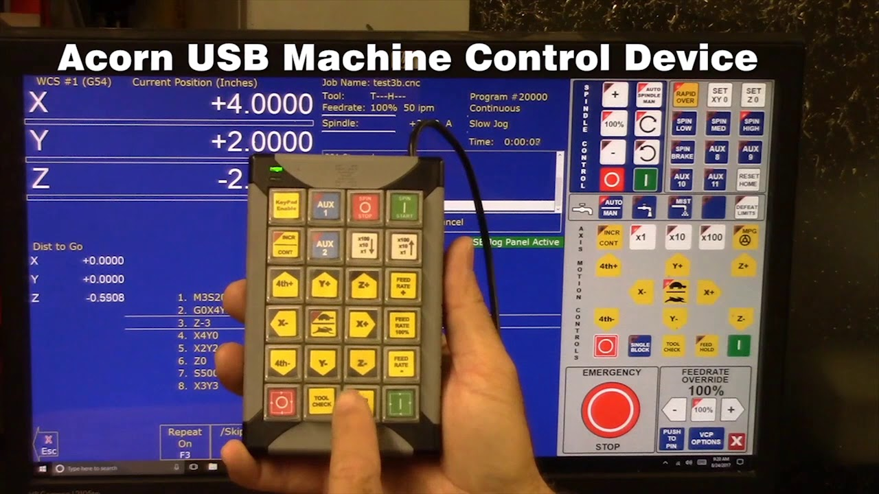 Acorn CNC controller Operator Control panel options