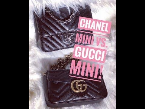 2b6f9fb3d01948 Gucci Super Mini Marmont and Chanel Square Mini Flap Bag Comparison ...