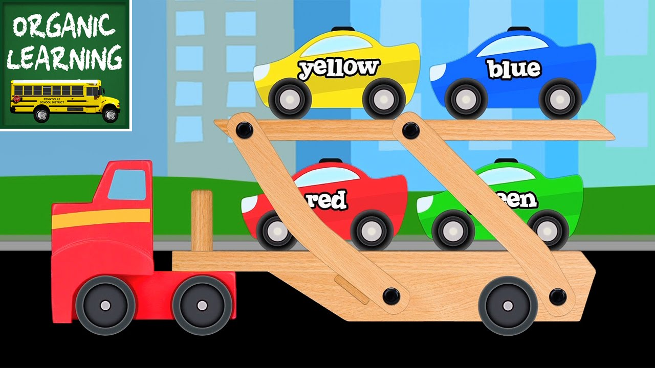 big rig car carrier teaching colors learning colours video for children youtube