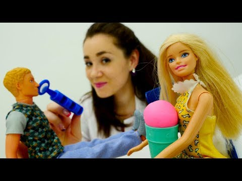 #Барби мультфильмы: Кен БЕЗ ГОЛОСА от мороженого! 🍧 Игры в доктора с #КуклаБарби в видео для девочек