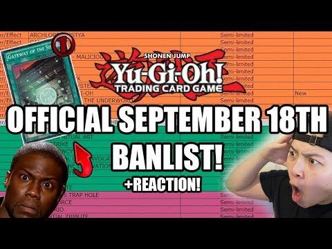 Yu-Gi-Oh! OFFICIAL SEPTEMBER 18th, 2017 BANLIST + LIVE REACTION! OMG! GATEWAY! (TCG)