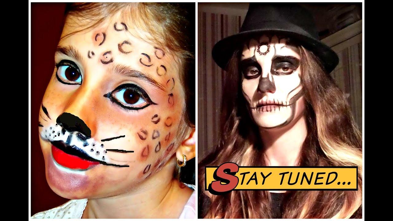 Halloween Makeup Tutorial - Skull Makeup + Easy Leopard Makeup by ...