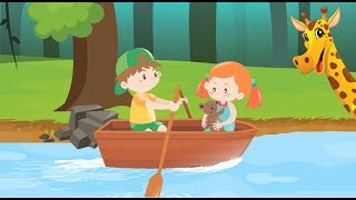 Row Row Your Boat with colorful Animals Best Nursery Rhymes & Songs for Children & babies
