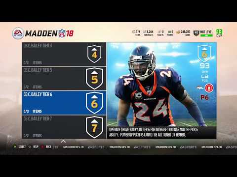 Madden 18 Ultimate Team New Level Cap At 50 - Upgrade Champ Bailey to 95 and Ladainian Tomlinson 98