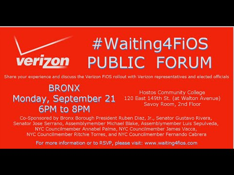 #Waiting4FiOS Public Forum - The Bronx - Sep 21 2015