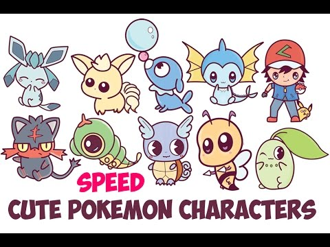 Speed Drawing Cute Pokemon Characters Chibi Kawaii Easy Step by Step Drawing for Kids and Beginners