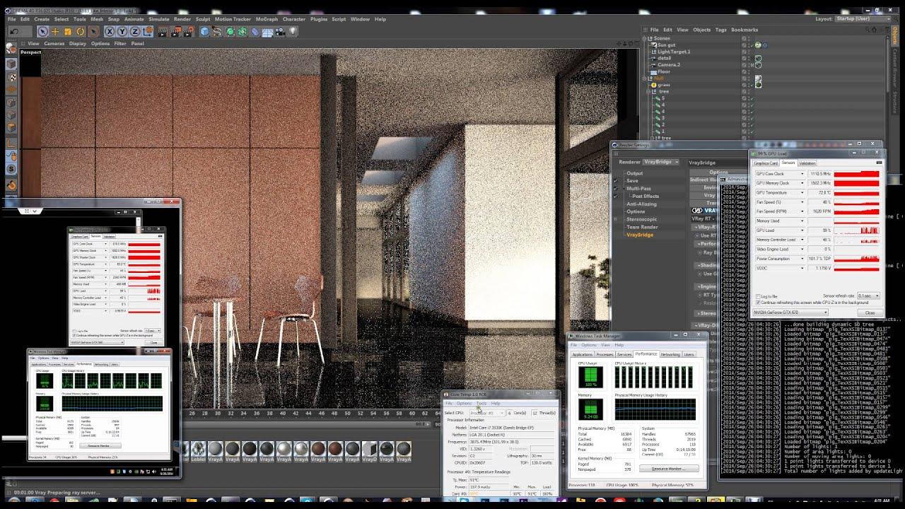VRay RT on VrayForC4D - Indoor Scene 3 GPU - 1 CPU 12 core