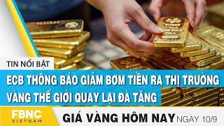 Giá vàng mới nhất 10/9 | ECB thông báo giảm bơm tiền ra thị trường, vàng thế giới quay lại đà tăng