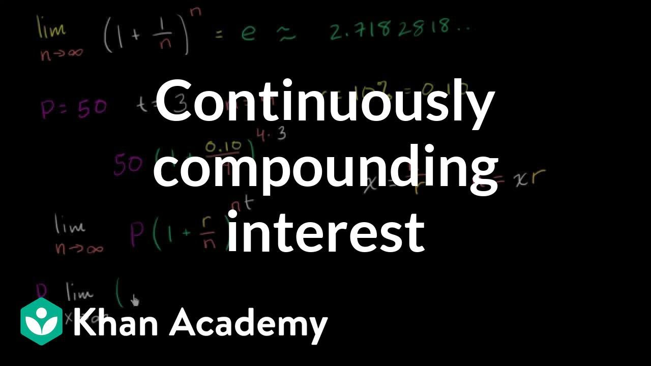 Formula For Continuously Compounding Interest