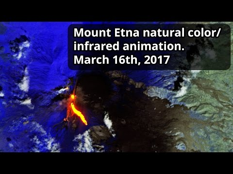 Mount Etna natural color/infrared animation March 16th, 2017