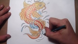 How To Draw a Koi Fish Tattoo Design - Quick Sketch