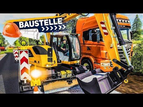 LS19 BAUSTELLE #1: Straßen-Bauarbeiten Mit Dem Bagger! | Farming Simulator 19