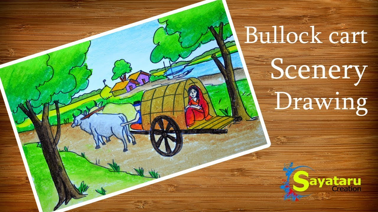 Bullock cart Scenery drawing, How to draw Scenery of Village road ...