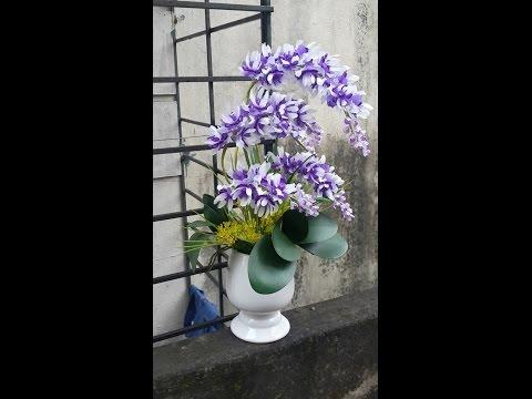 Hướng dẫn làm hoa lan ngọc điểm pha lê tím trắng