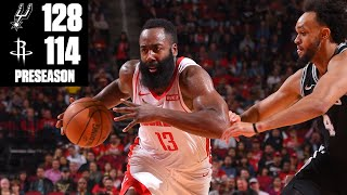 James Harden drops 40 points on the Spurs in a Rockets' preseason loss | 2019 NBA Highlights