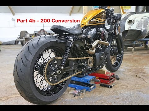 harley davidson sportster 48 customisation series part 4b 200 wide tyre youtube. Black Bedroom Furniture Sets. Home Design Ideas