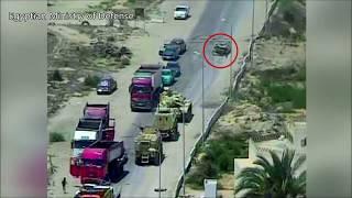 В Египте танк раздавил авто со взрывчаткой и смертниками , на контрольно-пропускном пункте .