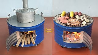 Multi purpose wood stove _  Creative ideas from cement and non iron barrels