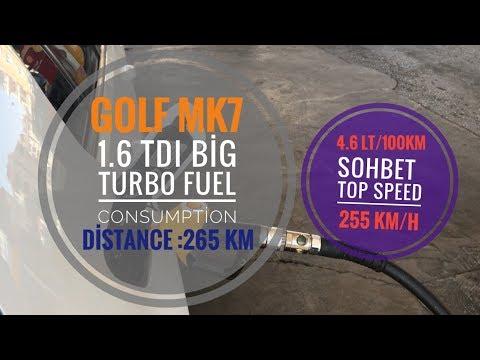 Top Speed (255km/h)| Golf 7 1.6 TDI Big Turbo Fuel Consumption (265km  4.6lt/100km)| Yakıt Tüketimi