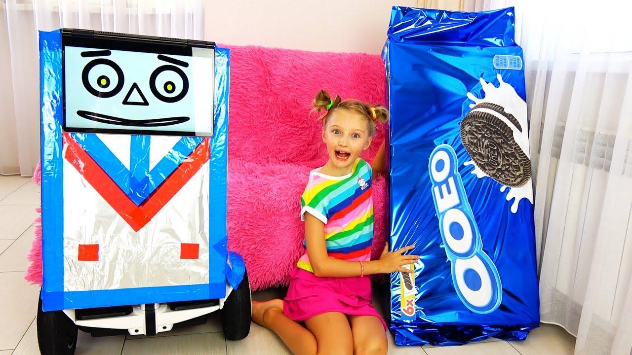 Полина и робот с конфетами и сладостями