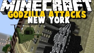 GODZILLA ATTACKS NEW YORK - Godzilla, Helicopter, Guns Mod Showcase - Brothers Minecraft [03]
