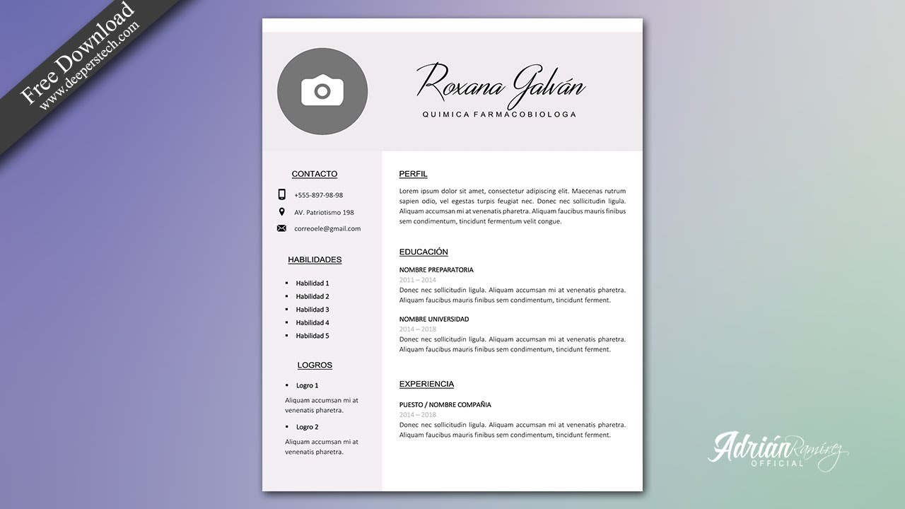 Curriculum Vitae Formal Original Editable En Word Gratis