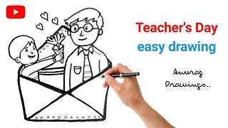 Teacher and Student Drawing Step by step Drawing of Teacher s Day Easy drawing YouTube