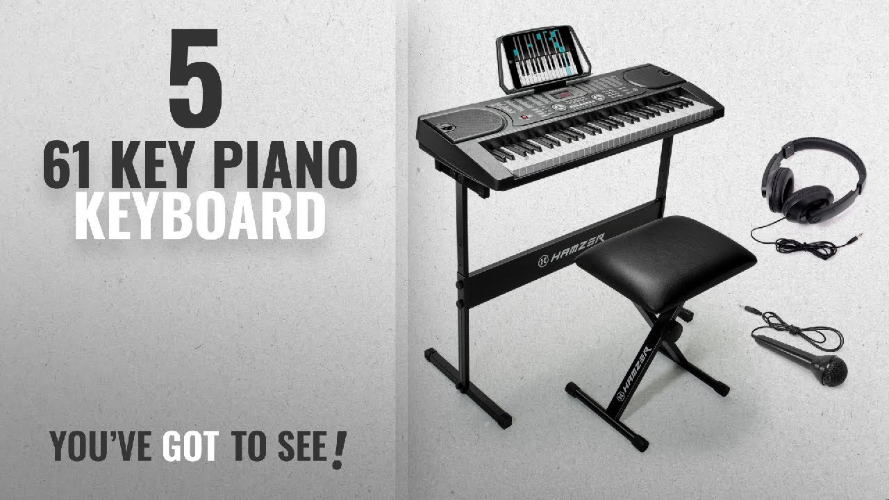 Top 10 61 Key Piano Keyboard [2018]: Hamzer 61-Key Portable Electronic Keyboard Piano with Stand,