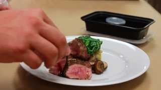 Pepper-Crusted Lamb Loin In-Flight Plating for Flight Attendants
