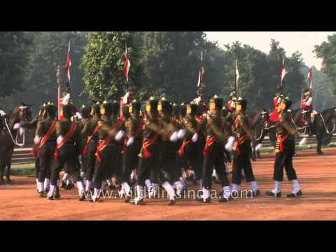 Guards March Past at Rashtrapati Bhavan during the Changing of the Guard, Delhi
