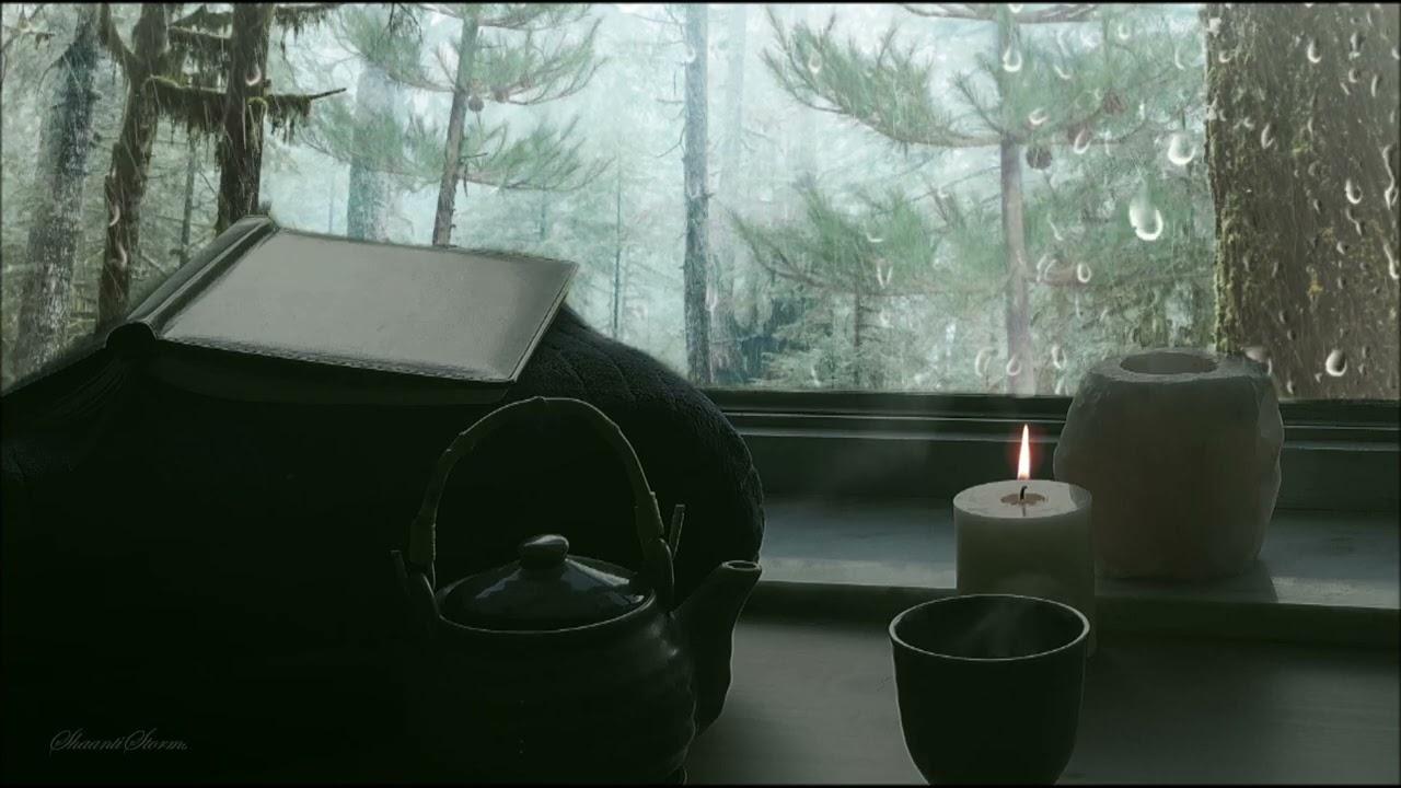 Heavy Rain on Window w/ Thunder - 8 hour rain sounds for Sleep or Studying