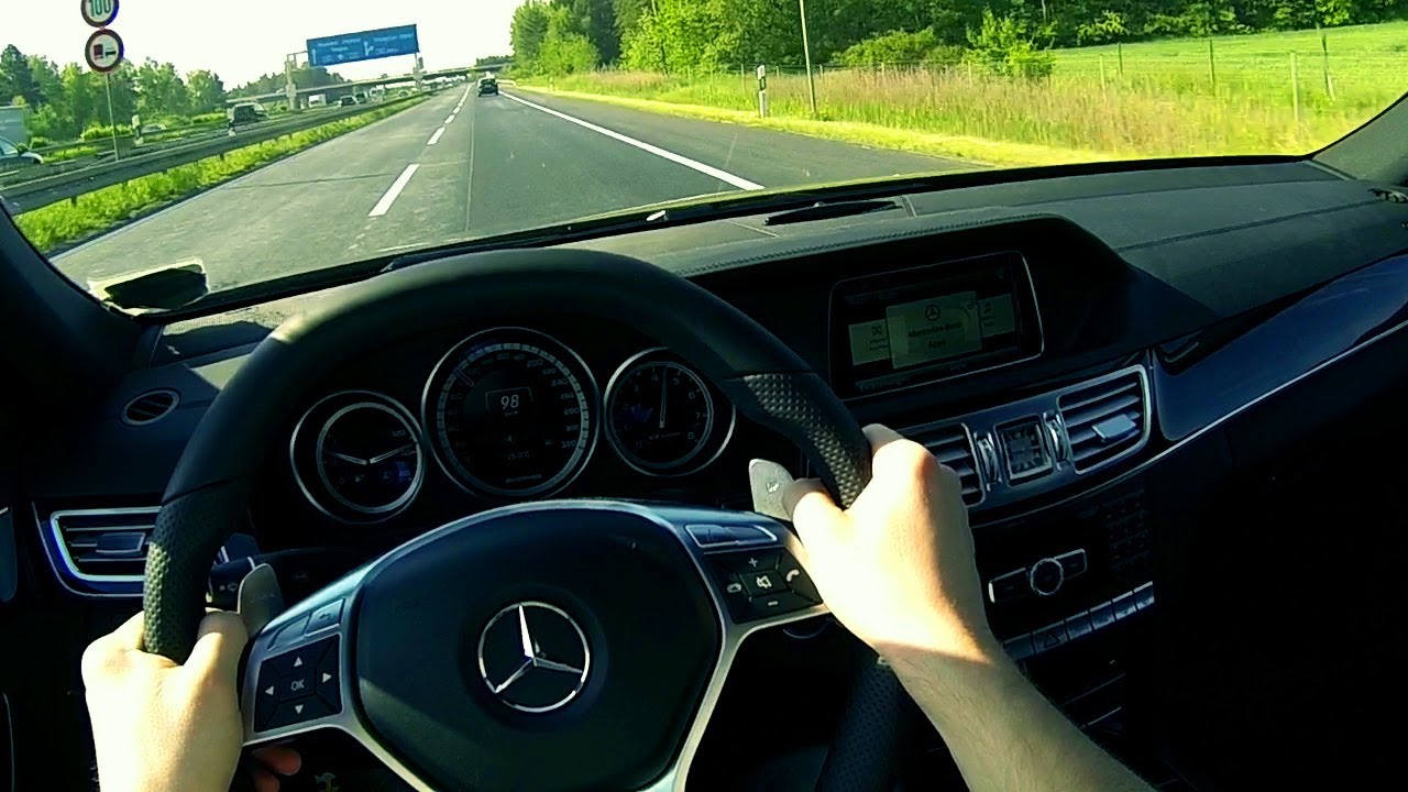 Mercedes E63 AMG Onboard POV German No Speed Limit Highway